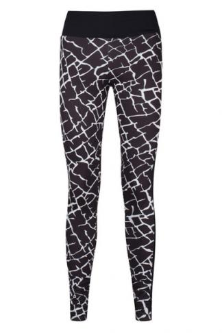 black white printed sports leggings long