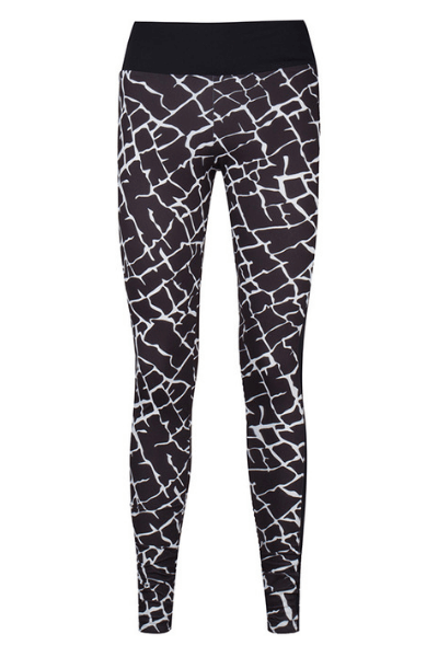 black white printed sports leggings long